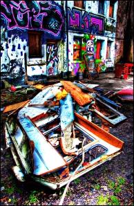 Destroyed caravan, Antwerp Mansion, Manchester, Image © Arron Hansford